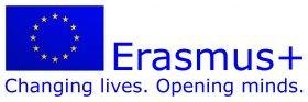 logotyp programu Erasmus+ z hasłami Changing lives. Opening minds.