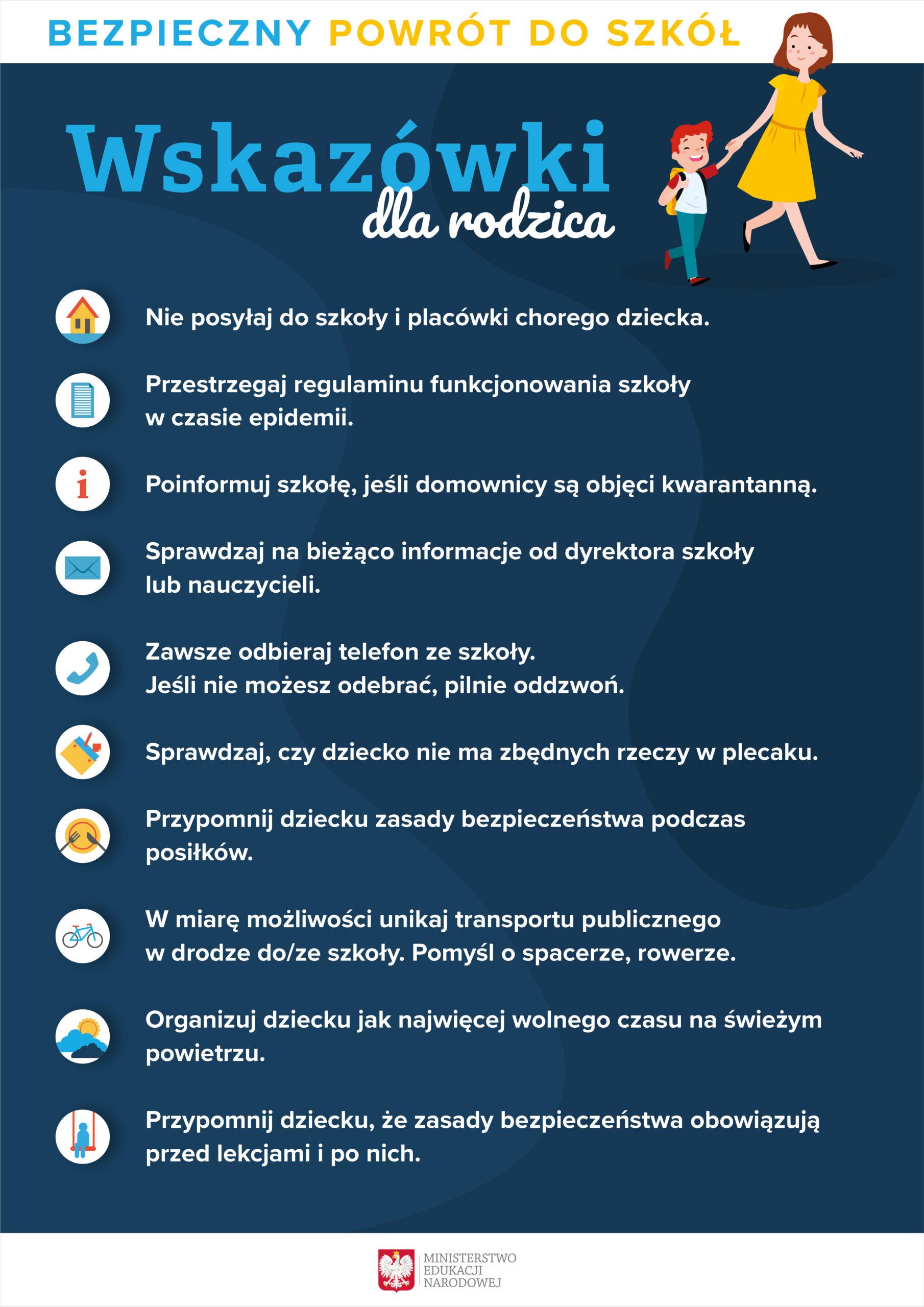plakat - 10 wskazówek dla rodzica w związku z powrotem dzieci do szkół