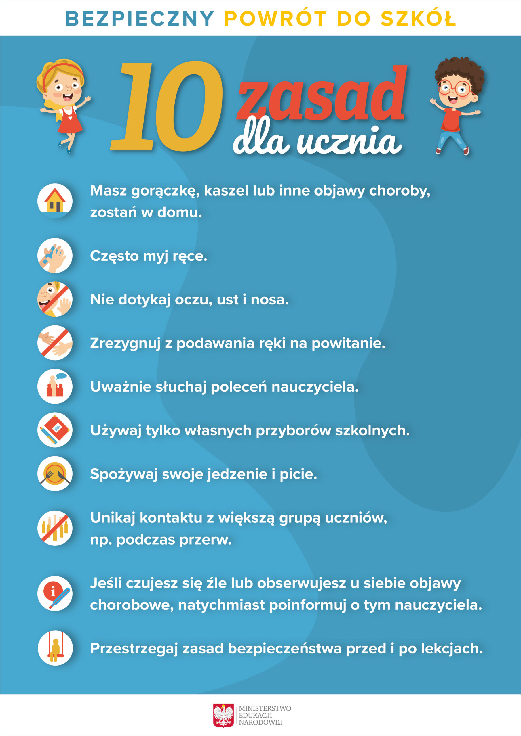 Plakat - 10 zasad dla ucznia w związku z powrotem do szkół